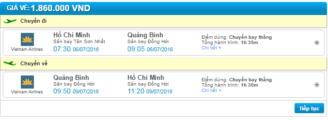 giá vé máy bay vietnam airline sài gòn đồng hới