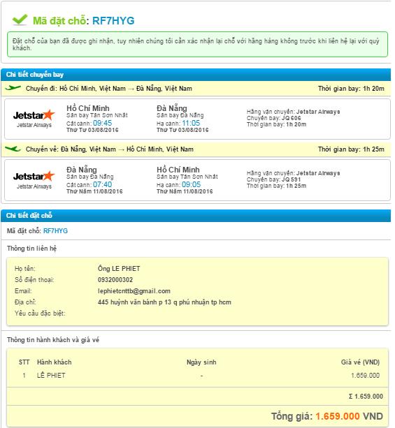 mã đặt chỗ vé máy bay