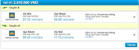 ve may bay ha noi di quy nhon vietnam airlines