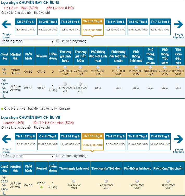 giá vé máy bay sài gòn đi london