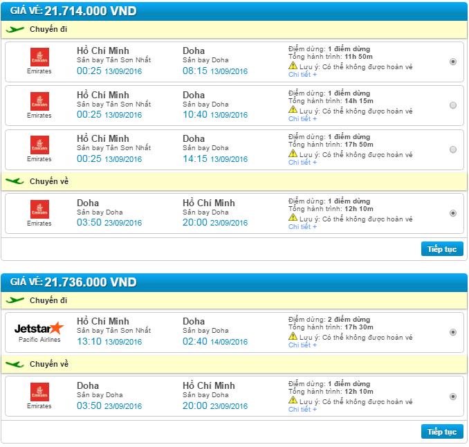 giá vé máy bay đi doha