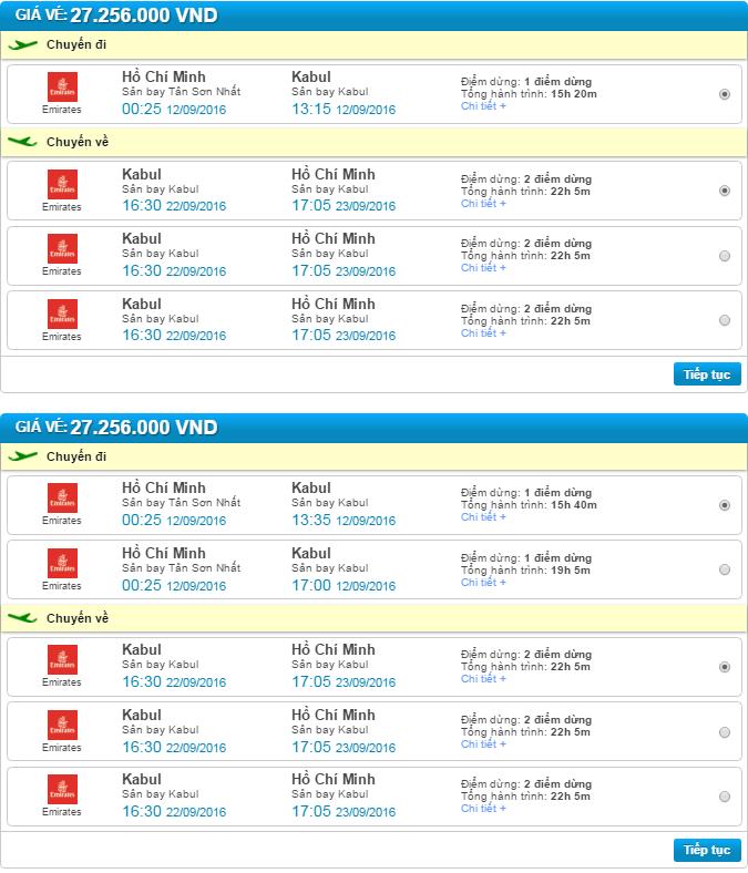 giá vé máy bay đi kabul