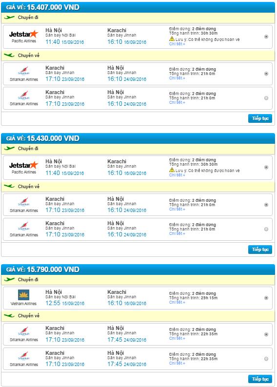 vé máy bay hà nội đi karachi